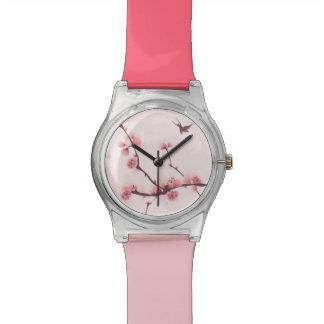 Oriental style painting, cherry blossom wrist watch