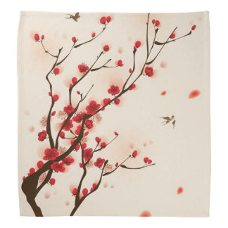 Oriental style painting, plum blossom in spring 2 bandana