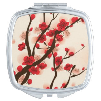 Oriental style painting, plum blossom in spring 2 mirrors for makeup