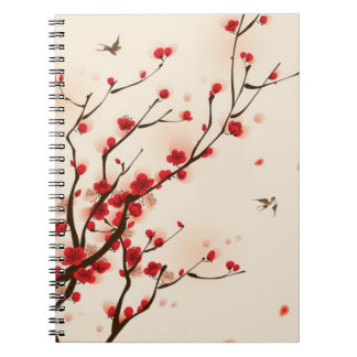 Oriental style painting, plum blossom in spring 2 note books