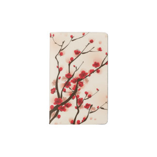Oriental style painting, plum blossom in spring 2 pocket moleskine notebook