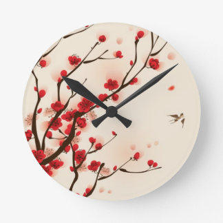 Oriental style painting, plum blossom in spring 2 round clock