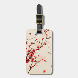 Oriental style painting, plum blossom in spring 2 tags for luggage