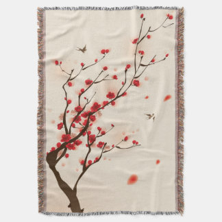 Oriental style painting, plum blossom in spring 2 throw