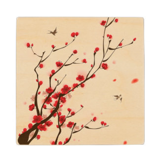 Oriental style painting, plum blossom in spring 2 wood coaster