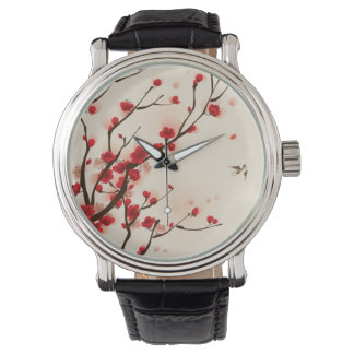Oriental style painting, plum blossom in spring 2 wrist watch
