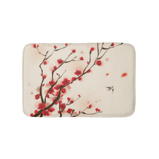 Oriental style painting, plum blossom in spring 2 bath mats