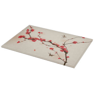 Oriental style painting, plum blossom in spring 3 cutting board