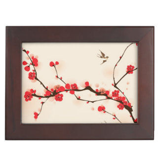Oriental style painting, plum blossom in spring 3 keepsake box
