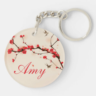 Oriental style painting, plum blossom in spring 3 key ring