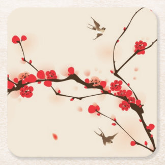 Oriental style painting, plum blossom in spring 3 square paper coaster