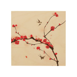 Oriental style painting, plum blossom in spring 3 wood print