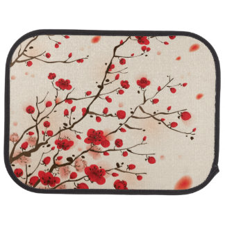 Oriental style painting, plum blossom in spring car mat