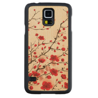 Oriental style painting, plum blossom in spring carved maple galaxy s5 case