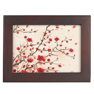 Oriental style painting, plum blossom in spring keepsake box