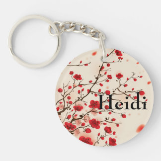 Oriental style painting, plum blossom in spring key ring
