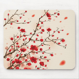 Oriental style painting, plum blossom in spring mouse mat
