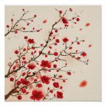 Oriental style painting, plum blossom in spring poster