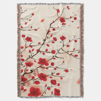 Oriental style painting, plum blossom in spring throw blanket