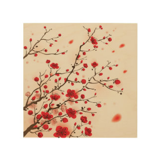 Oriental style painting, plum blossom in spring wood wall decor