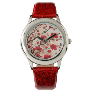 Oriental style painting, plum blossom in spring wristwatches