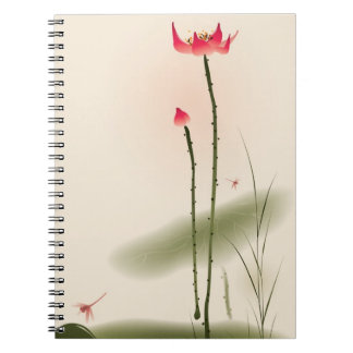 Oriental style painting, tall Lotus Notebook