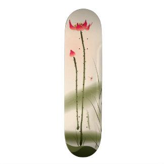 Oriental style painting tall Lotus Skate Decks