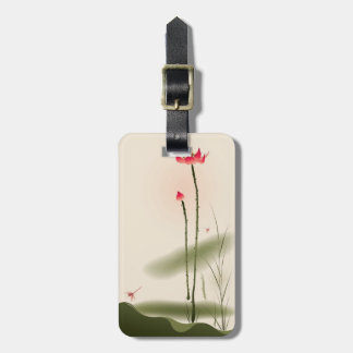 Oriental style painting, tall Lotus Tag For Bags