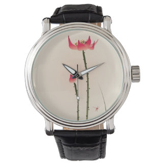 Oriental style painting, tall Lotus Watches