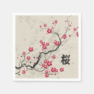 Oriental Style Sakura Cherry Blossom Art Disposable Serviette
