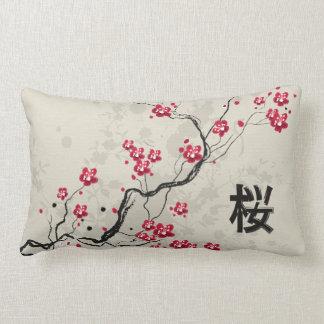 Oriental Style Sakura Cherry Blossom Art Lumbar Cushion
