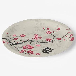 Oriental Style Sakura Cherry Blossom Art Paper Plate