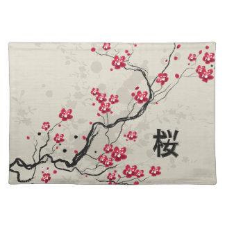 Oriental Style Sakura Cherry Blossom Art Placemat