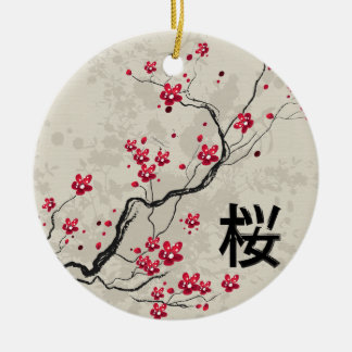 Oriental Style Sakura Cherry Blossom Art Round Ceramic Decoration