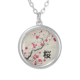 Oriental Style Sakura Cherry Blossom Art Silver Plated Necklace
