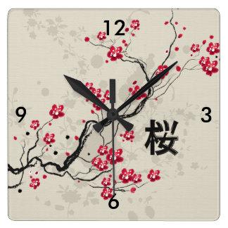 Oriental Style Sakura Cherry Blossom Art Square Wall Clock