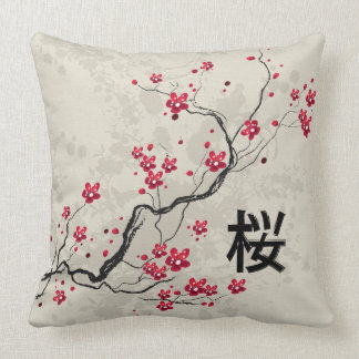 Oriental Style Sakura Cherry Blossom Art Throw Pillow