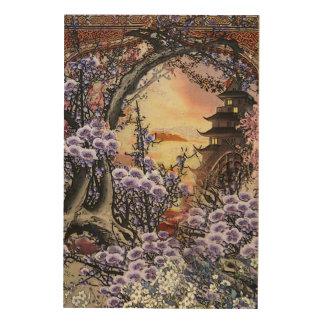 Oriental Sunset Blossom Wood Wall Art