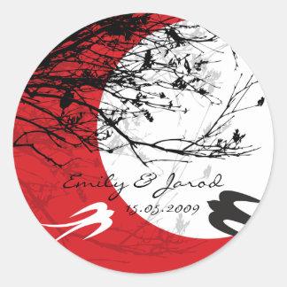 Oriental Swallows Moonlight Asian Wedding Sticker