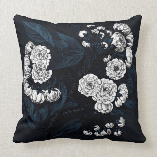 Oriental white peony embroidery cushion