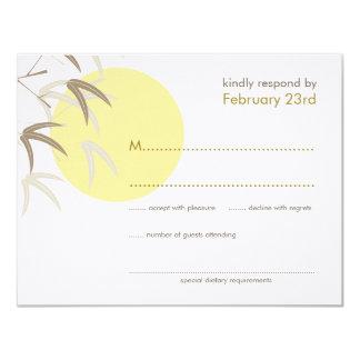 Oriental Yellow Sunrise Bamboo Zen RSVP Card 11 Cm X 14 Cm Invitation Card