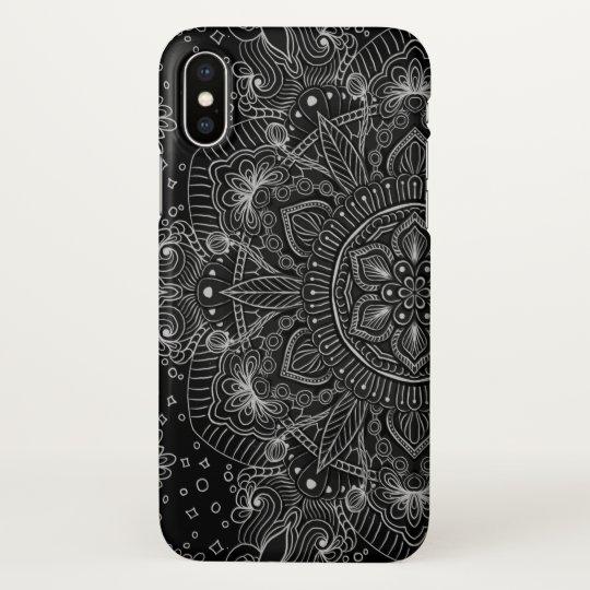 Oriental Zen Mandala Black and white iPhone X