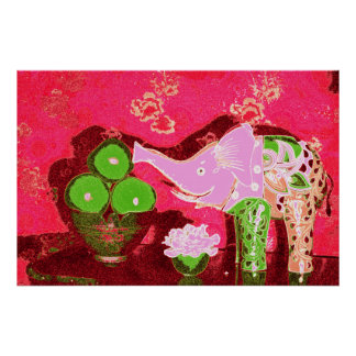 Orig. Photo--Pink Elephant Still Life w/Apples Poster