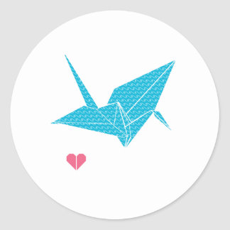origami bird with heart classic round sticker