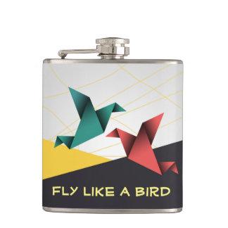 Origami Birds Hip Flask