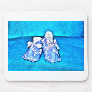 ORIGAMI BLUE BABY SHOES JAPANESE ART MOUSE PAD