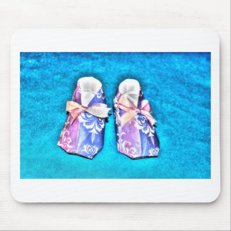 ORIGAMI BLUE BABY SHOES JAPANESE PAPER ART MOUSE PAD