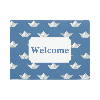 Origami Boats On The Water Pattern | Add Your Text Doormat