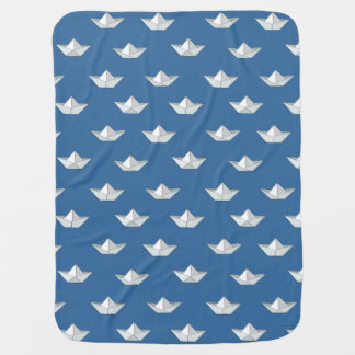 Origami Boats On The Water Pattern Baby Blanket