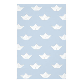 Origami Boats On The Water Pattern Custom Stationery